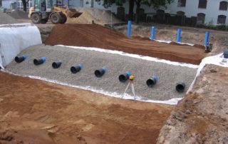 Entwässerungsarbeiten und Wasserrückhaltung auf einem Dresdner Firmengelände 2012