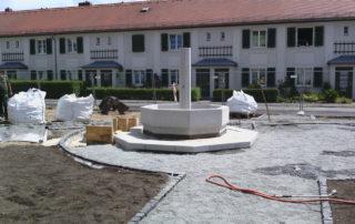 Ansicht des Dresdner Brunnenplatzes mit Wappenbrunnen während der Ausführung 2014