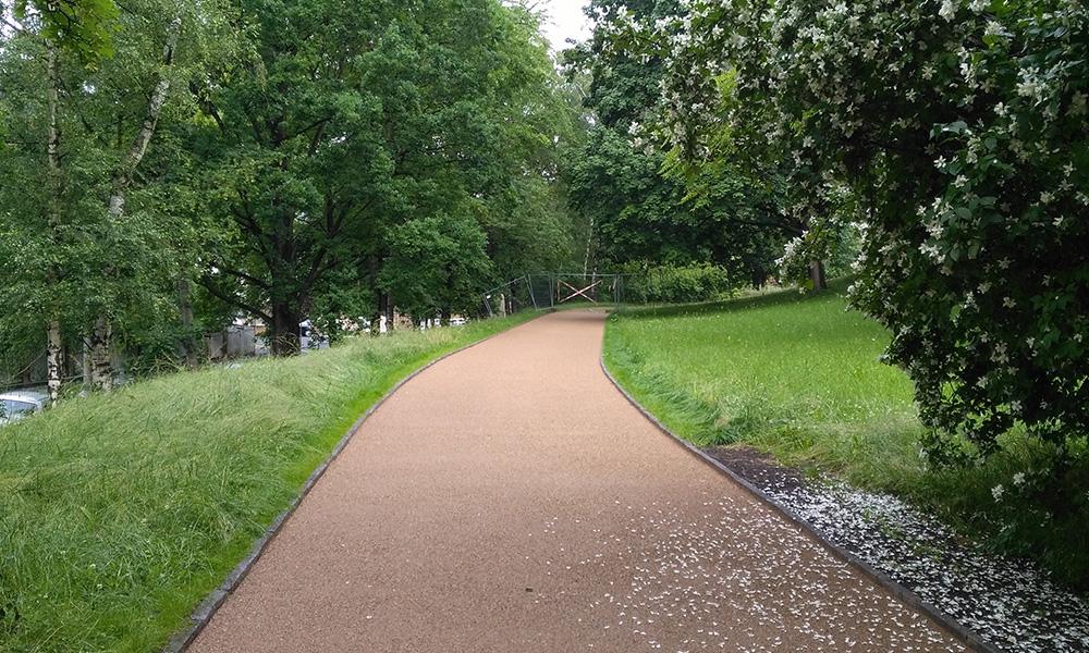 Sanierter Weg aus Wassergebundener Wegedecke im Beutlerpark in Dresden, Ausführung 2016