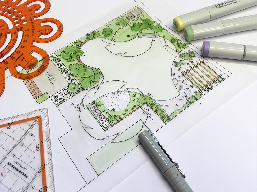 Bild von einer Ideenskizze mit Zeichenutensilien