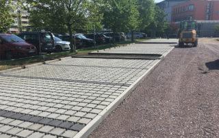 Parkplatzbau Muldaer Straße während der Bauphase 2019